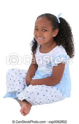 girl, pyjamas, enfant - csp0062852