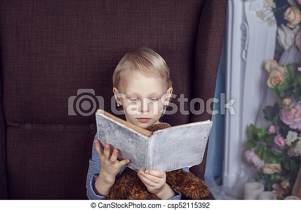 Girl reading a book in a chair - csp52115392