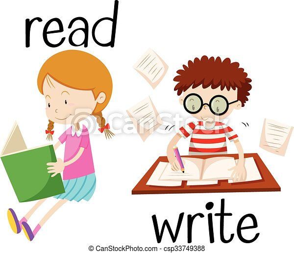 girl reading and boy writing illustration vector search clip art rh canstockphoto ca girl writing on the board clipart little girl writing clipart
