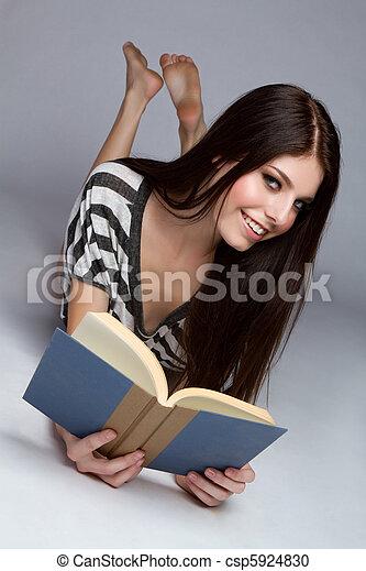Girl Reading Book - csp5924830