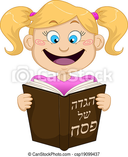 Girl Reading From Haggadah For Passover - csp19099437