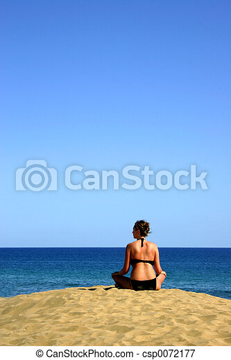 girl, regarder, océan - csp0072177