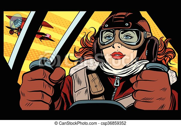 Girl retro military pilot - csp36859352