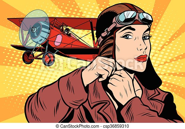 Girl retro military pilot - csp36859310