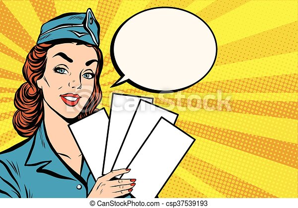 Girl retro stewardess with white forms brochure ticket - csp37539193