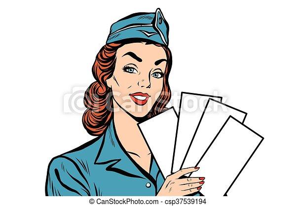 Girl retro stewardess with white forms brochure ticket - csp37539194
