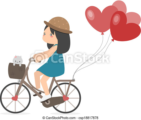 Girl Riding Bike With Balloons A Girl Riding A Bicycle With Heart