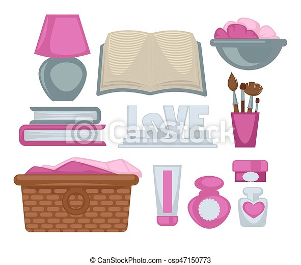 Girl room stylish elements vector poster on white - csp47150773