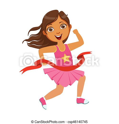 Girl run to the finish line first, a colorful character - csp46140745