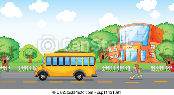 girl running behind school bus - csp11431891