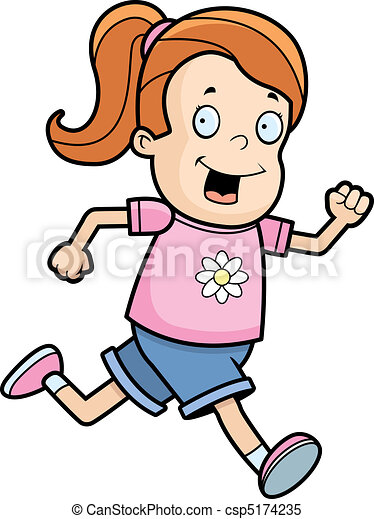 a happy cartoon girl running and smiling clipart vector search rh canstockphoto com little girl running clipart cartoon girl running clipart