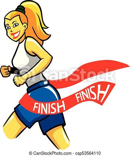 girl running reach finish line vector illustration of vector rh canstockphoto com