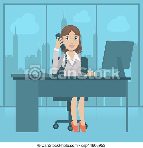 Girl secretary speaks by phone - csp44606953