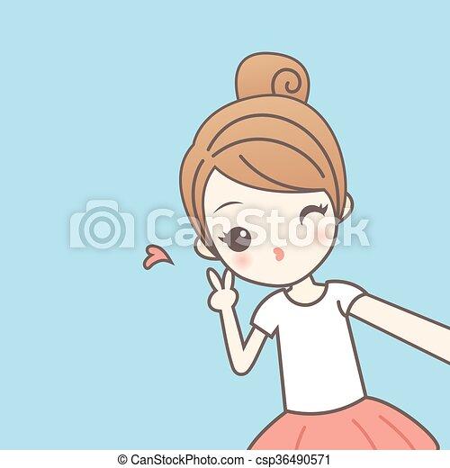 girl, selfie, dessin animé - csp36490571