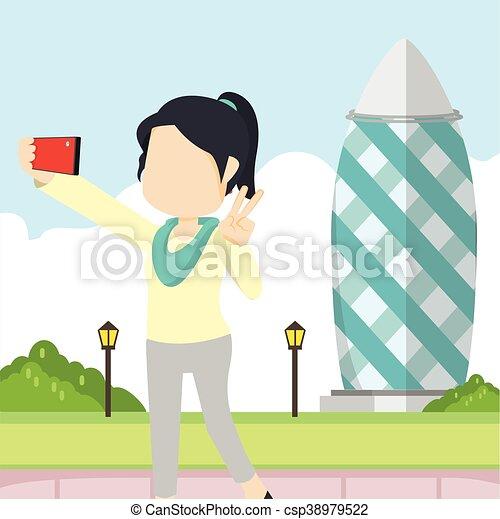 girl selfie in gherkin tower - csp38979522