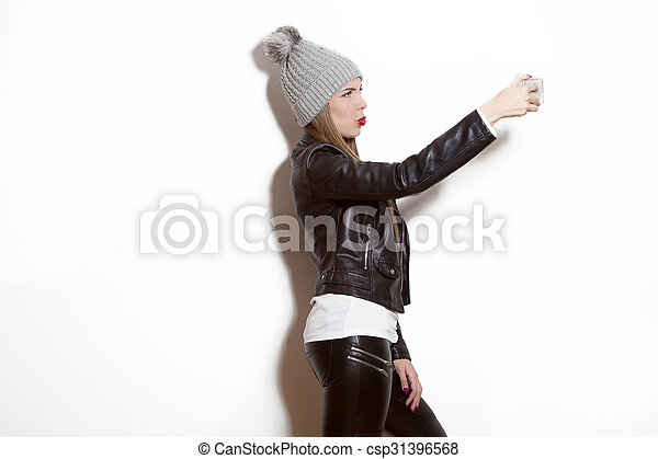girl, selfie, prendre - csp31396568