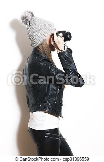 girl, selfie, prendre - csp31396559
