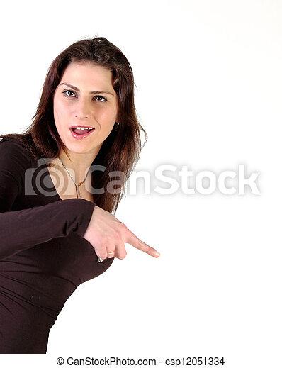 girl shows a finger - csp12051334