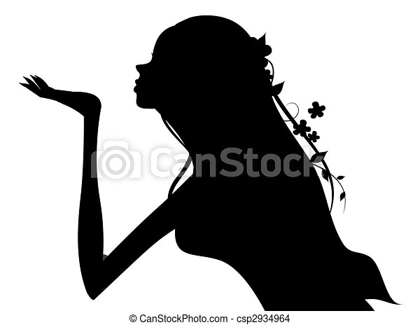 girl silhouette drawing of beautiful girl silhouette in a