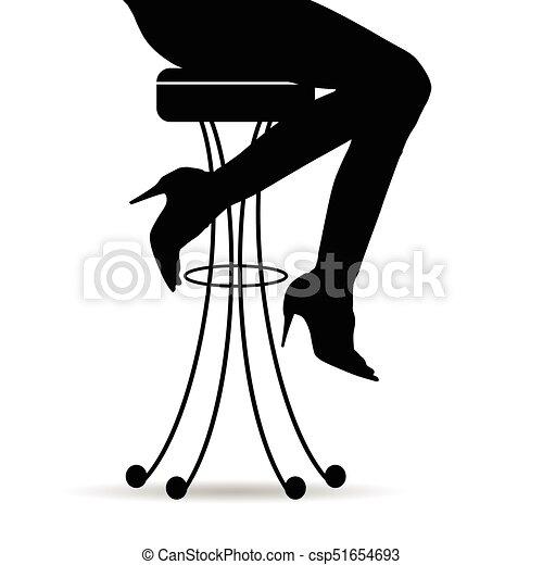 Girl Silhouette Sitting On Bar Stools Illustration Girl