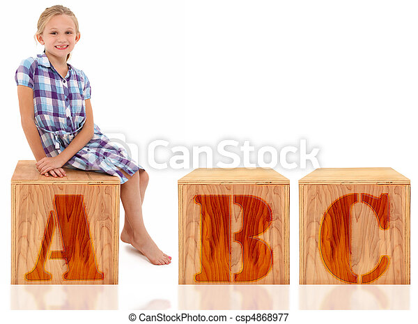 Girl Sitting on Letter A B C - csp4868977