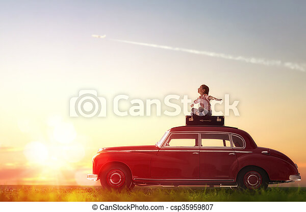 girl sitting on roof of car. - csp35959807