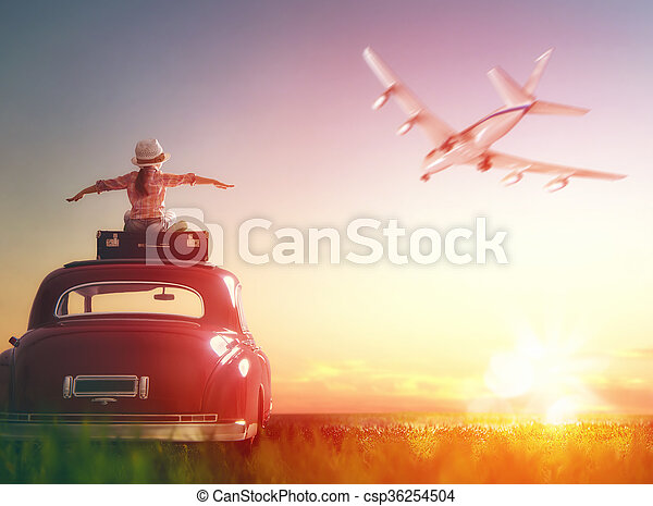 girl sitting on roof of car. - csp36254504