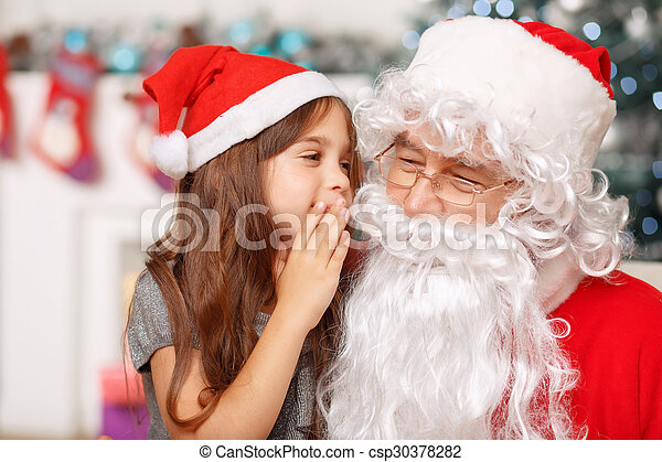 girl sitting with Santa - csp30378282