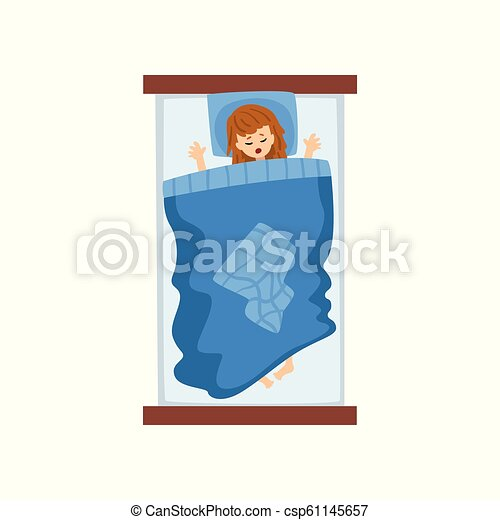 Girl sleeping in her bed, view from above vector Illustration on a white background - csp61145657