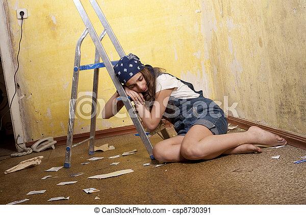 girl sleeping on the ladder - csp8730391