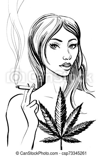 Girl Smoking Weed Ink Black And White Drawing Of Pretty Woman