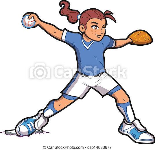 girl softball pitcher girl softball baseball pitcher with rh canstockphoto com female softball player clipart softball player clipart free