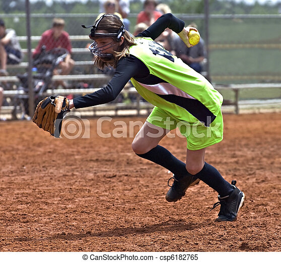 Girl Softball Player - csp6182765