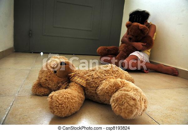 girl, souffre, conjugal, jeune, violence - csp8193824