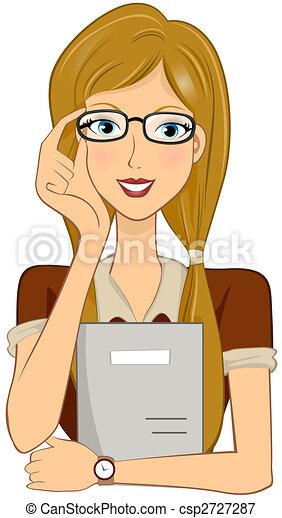 girl student holding glasses rh canstockphoto com Girl Student Cartoon Girl Student Cartoon