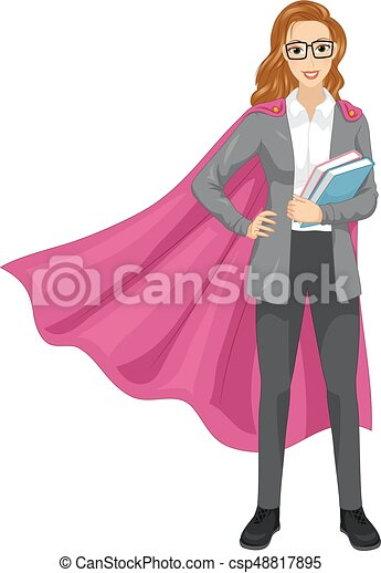 Girl Super Teacher Books Illustration - csp48817895