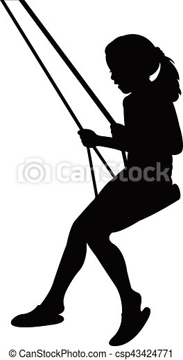 girl swinging silhouette vectors illustration search clipart rh canstockphoto com Boy On Swing Clip Art Tree Swing Clip Art