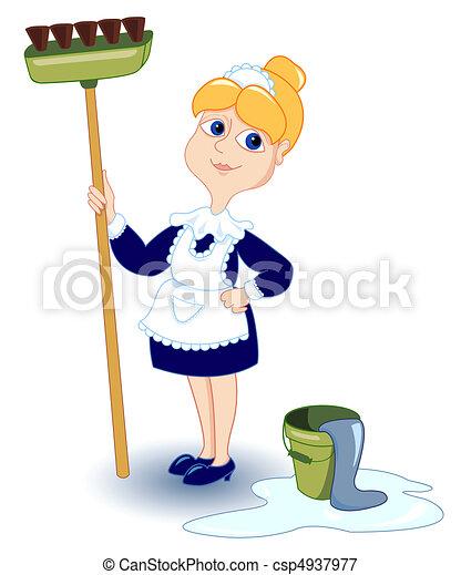 girl., takarítás - csp4937977