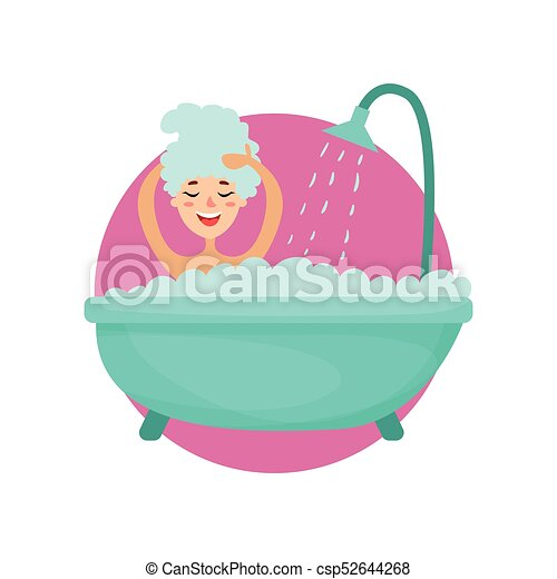 girl taking a bubble bath and washing her hair woman caring clip rh canstockphoto com bubble bath clipart images bubble bath clipart black and white