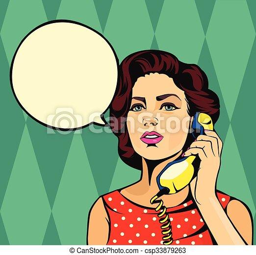 Girl talking on phone - csp33879263