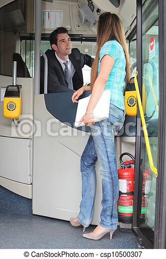Stock Photography Of Girl Talking To Bus Driver