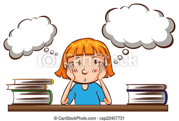 girl thinking illustration of a girl thinking