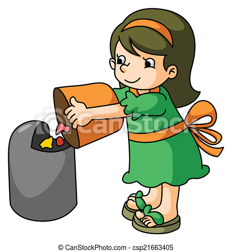 girl throw the trash vector clipart search illustration drawings rh canstockphoto com garbage clipart free garbage clipart images