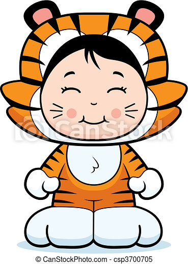 girl tiger a happy cartoon girl in a tiger costume clipart vector rh canstockphoto com Tiger Costumes for Girls Black and Orange baby girl tiger clipart