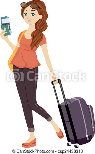 Girl traveling. Illustration of a teenage girl holding her ...