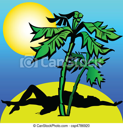 girl under the palm illustration - csp4786920