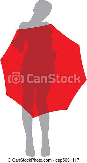 Girl under umbrella - csp5631117