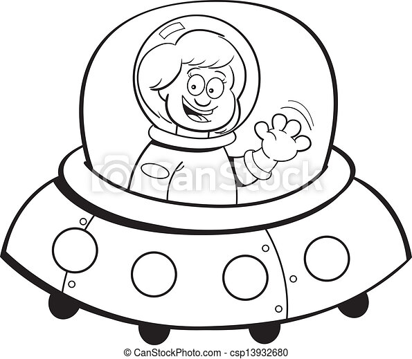 Dessin Vaisseau Spatial girl, vaisseau spatial, dessin animé, (black. spaceship., blanc