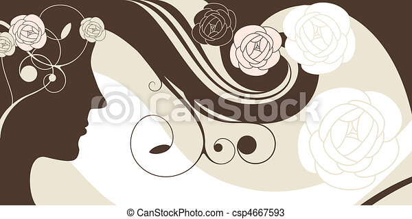 girl vector background - csp4667593