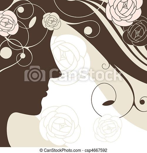 girl vector background - csp4667592